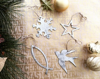 Rustic Metal Christmas Ornaments- Mountain - Dove - Fish - Star