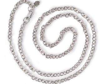 """Small Link Chain 24"""" Necklace - Antiqued Imitation Silver (IP064)"""