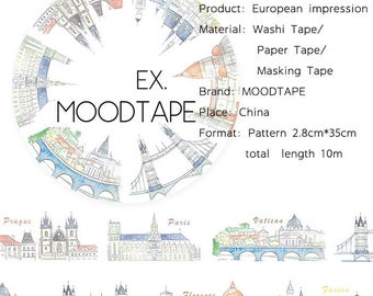 City Washi Tape European impression,scrapbooking stickers,DiY,Paper Decorative masking Tape