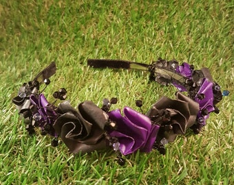 Gothic tiara, goth rose crown, alternative wedding, corpse bride hair, black and purple rose crown, Gothic bride, Halloween hair, origami