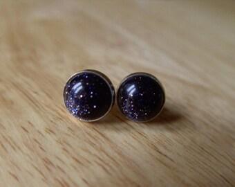 Stud Earings Blue Goldstone Stud Earings Stone Earings
