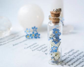 Bottle with dried flowers - forget-me-not-gipsophila-flowers-bottle-pendant