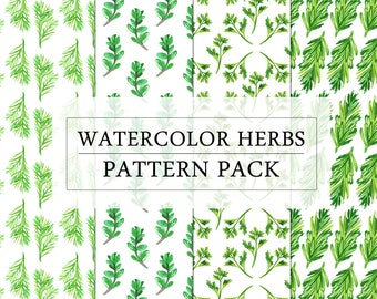 60% OFF Watercolor Herbs Pattern Pack | Watercolor Papper Pack | Decorative Paper | Scrapbooking Paper | Botanical Pattern