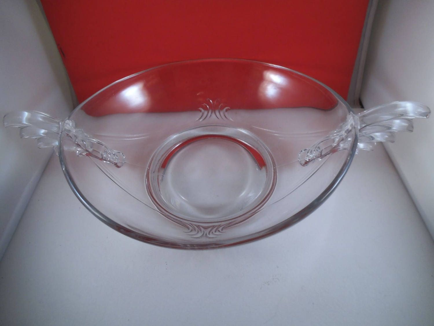 Vintage fostoria baroque clear glass centerpiece console bowl for Clear baroque glass