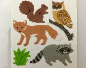 Vintage Rare Sandylion Fuzzy Animals.  Fox, Raccoon, Owl, Squirrel