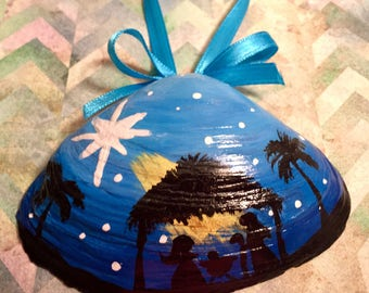 Nativity Hand Painted Shell (#1)