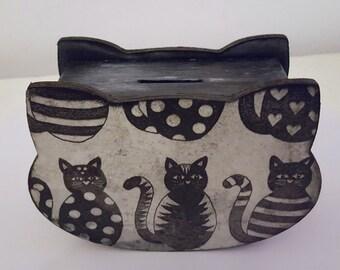 Black Cats Vintage Wooden Money Box by Cinzia Mancini Art