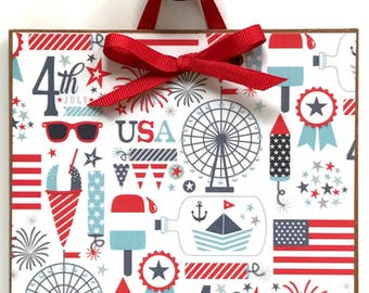 Happy 4th of July / Independence Day / Fourth of July Decor / 4th of July Sign / 4th of July Collage Sign / #13