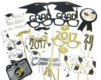 Photo Booth Props - Set of 17  Deluxe Graduation Class Of 2017 Party Props