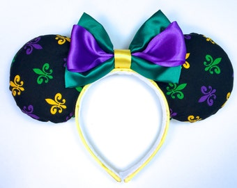 Mardi Gras Mouse Ears - New Orleans Square Mouse Ears - Fat Tuesday Inspired Mouse Ears - Port Orleans Inspired Mouse Ears - Fleur de Lis