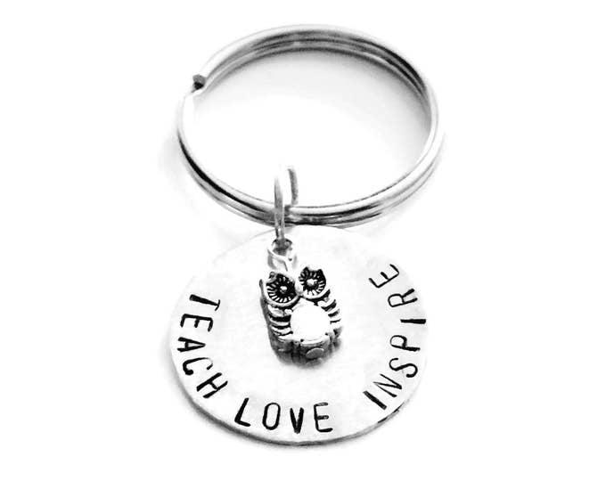 Teach Love Inspired Owl Key Chain, Teacher Gift, Owl Key Chain, Hand Stamped Teacher Keychain, Gift for Teacher, Unique Birthday Gift