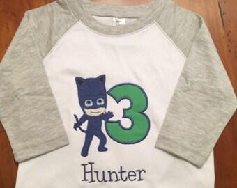 PJ Masks Shirt Catboy, Gekko, Owlette Raglan Baseball Tee