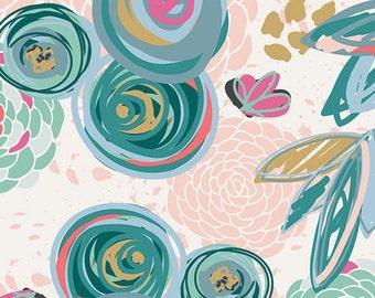 Art Gallery Knit - Caroline Hulse - Chalk & Paint -Sprayed Blooms Subtle, cotton, spandex, lycra, knit, 4way stretch, jersey, flowers