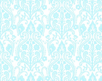 Butter Cream Aqua Damask by Louise Anglicas Y1946-33 - light blue coral on white quilting cotton woven fabric