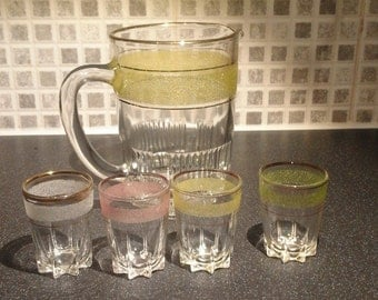 Retro 1950s Frosted Glass Jug and Shot Glassess