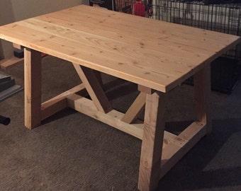 "Modern Rustic Plank table aka ""Shorty"""