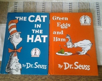 Pair Dr Seuss Books - Green Eggs and Ham & Cat in the Hat - Early Reading - Gift for Child