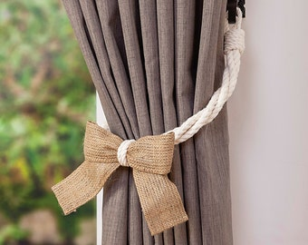 White Cotton Rope and Burlap Bow Curtain Tie-backs/ shabby chic window treatment/ nursery curtain tie backs/ drape hold-backs/ rope tiebacks