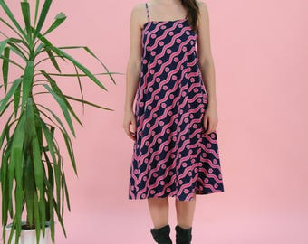 FREE SHIPPING Vintage pink dress, spaghetti strap dress, summer dress, 60s dress, flower pattern, medium size, cotton dress