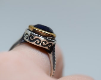 Round Blue Gemstone Boho Style Solitaire 925 Silver Ring, US Size 8.0, Used Vintage