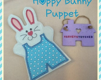 Hoppy Bunny Hand Puppets -Handmade to Order Childs Hand Puppet