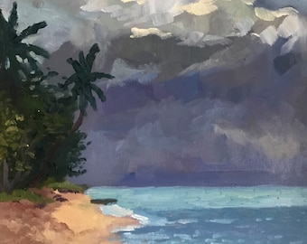 Original Seascape Oil Painting on Canvas, Caribbean Tropical Beach painting Guadeloupe Island art. Ocean tropical painting on canvas