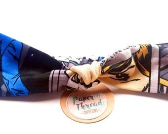 Ladies headband - knotted, tie, turban style, rockabilly, Pop Art, comic strip, vintage, retro, womens, hairband, elasticised, colourful