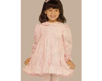 See & Sew 5368, 80s Sewing Pattern, Size 2-4 Girl's Dress Pattern, Ruffle Dress Summer Dress, Pleated Skirt Drindl Skirt Peter Pan Collar