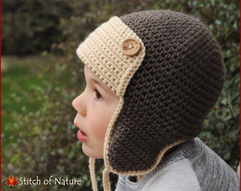 Crochet Pattern For Baby Pilot Hat : Crochet aviator hat Etsy