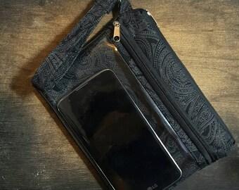 Handmade Touchscreen Wristlet / black paisley