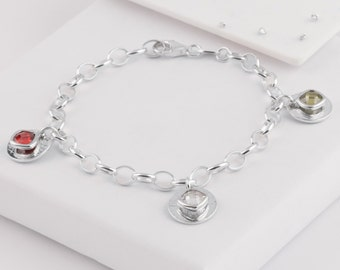 Sterling silver crystal memorial ashes/hair charm bracelet