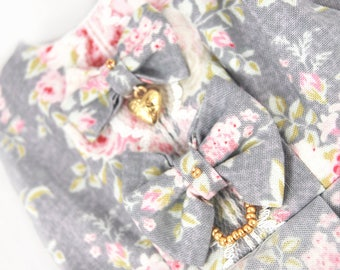 Grey BJD bow dress SD with lace