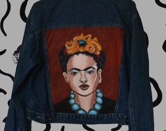 Frida Kahlo hand painted denim jacket, painted clothing