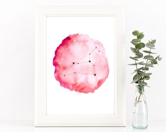 Leo constellation, Leo zodiac print, Printable wall art, Astrology print, Horoscope art, Leo gift, Pink watercolor print