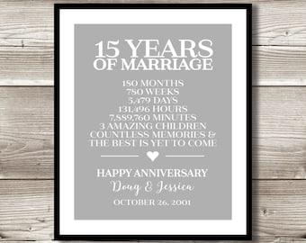 Wedding Gifts 15 Year Anniversary : 15 Year Anniversary Digital print; gift 15th Anniversary present ...