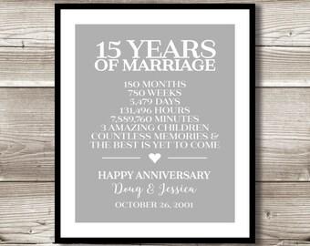 Wedding Gifts For 15 Year Anniversary : 15 Year Anniversary Digital print; gift 15th Anniversary present ...