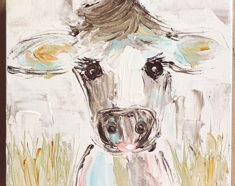 Cow Painting . Cow Art . Animal Art . Abstract Cow Painting . Farm Animal Art . Farmhouse Style