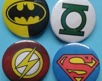 Set of 4 25mm DC superhero logo badges- Batman, Superman, Green Lantern, Flash