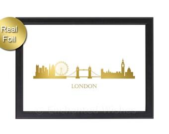 London Skyline Gold Foil Print, London Print, London Skyline Print, London Art Print, London Wall Art, London Decor, Real Foil