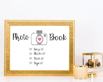 A4 Polaroid guestbook photo sign - wedding - printable - instant download - photo book - bride - groom - guestbook - landscape - horizontal