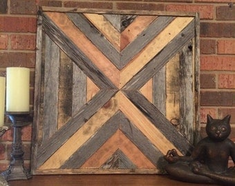 Natural Chevron Reclaimed Wood Wall Art