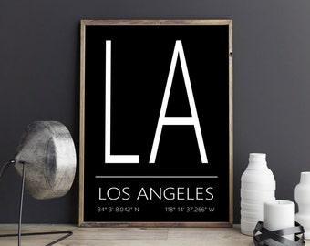 Los Angeles Print, Los Angeles Poster, Los Angeles Art, Los Angeles Coordinates, Los Angeles, Wall Art, Wall Decor, Printable Art, Download