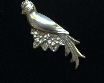 Vintage Coro Craft Sterling Bird Brooch- Sterling Silver Bird Brooch- Cintahe Coro Sterling Brooch- Vintage Bird Jewelry