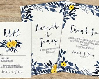 Printable Wedding Invitation Set, Invitation Suit, Instant Download, RSVP Card, Thank You Card, Blue Leaves Wedding Suit, Editable