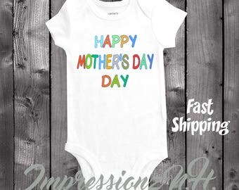 Happy Mother's Day colorful  cute baby onesie, Onesie for Mother's Day, mothers day bodysuit