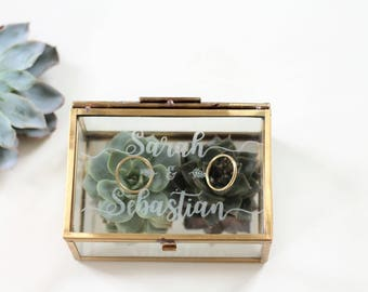 personalized RING box with engraving glass | Wedding | Anniversary |