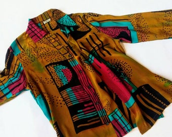Vintage Silk Button Up Shirt - Deeva large l loose magenta mustard gold brown tan purple blue aqua teal blouse big all over print