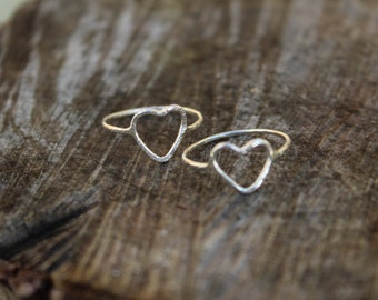 Silver heart ring, hammered silver heart ring, boho heart ring, rustic heart ring, dainty heart ring, girlfriend gift, stocking filler