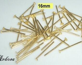 100 pins 16 x 0, 7 mm gold (21.16)