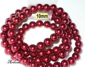 1 strand 82cm = 86 glass pearl beads 10 mm crimsonrot (810.31.1)